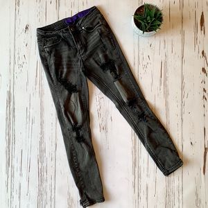 Black Indigo Reign Distressed Skinny Jeans 7/27
